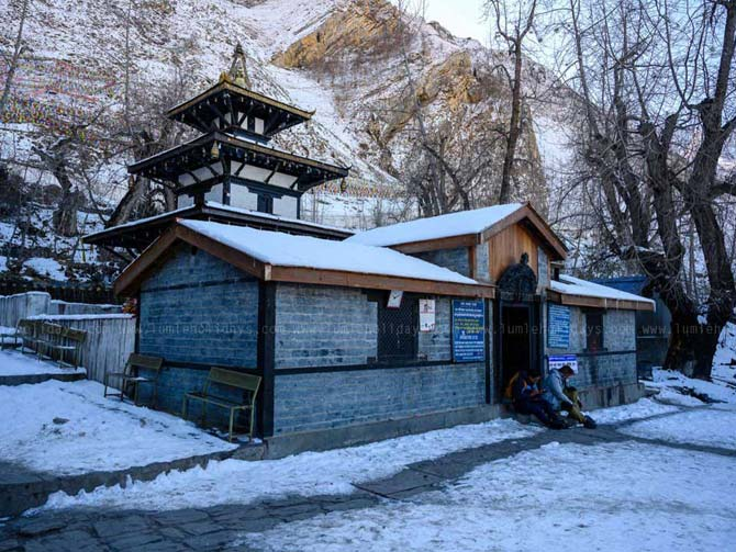 Muktinath Temple covered by snow
