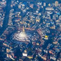 Boudhanath Stupa view from Helicopter