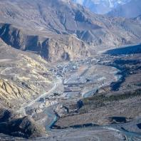 Jomsom Village view from Helicopter
