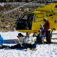 Clients having breakfast at Muktinath Helipad