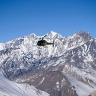 Helicopter flying above Muktinath Village