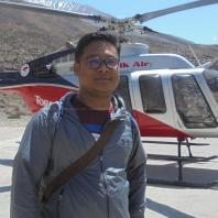 Me at Ranipauwa Helipad with helicopter