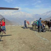 Helicopter, Horses, and Mountain view from Muktinath