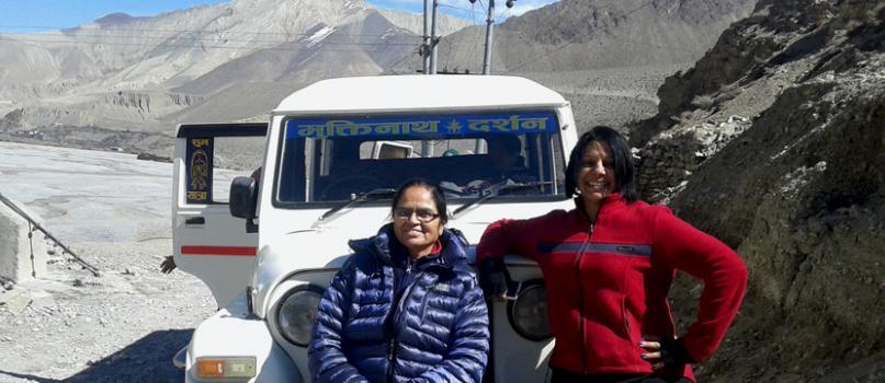 Customer with Jeep at Muktinath