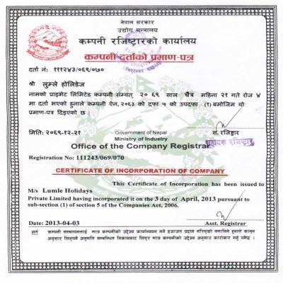 Company Register Certificate