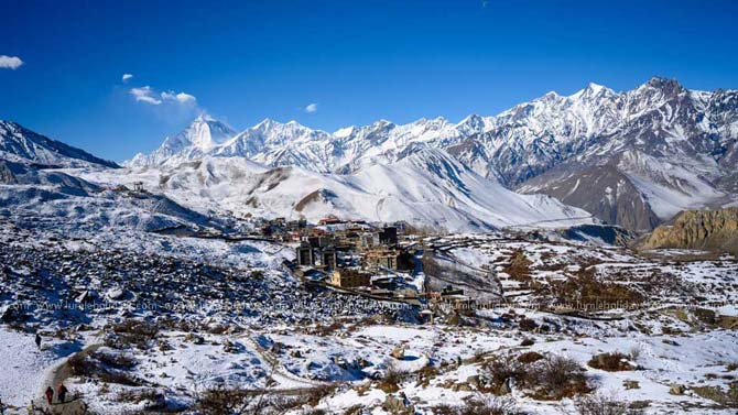 Muktinath village covered by snow